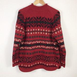 Eddie Bauer Red Thick Cotton Fair Isle Sweater PL